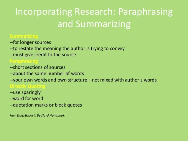 paraphrasing in a research paper This is the most common citation in a paper proper paraphrasing is practice note-taking techniques by quoting a source you plan to use for your research paper.