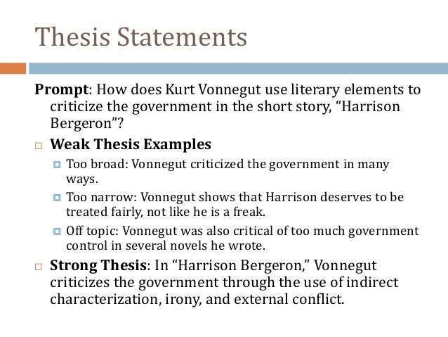 harrison bergeron thesis statement original content have your essay written for you