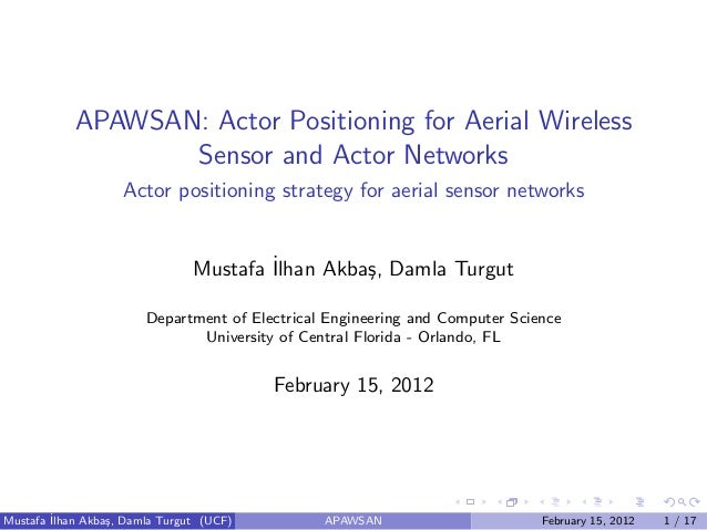 APAWSAN: Actor Positioning for Aerial Wireless                   Sensor and Actor Networks                    Actor positi...