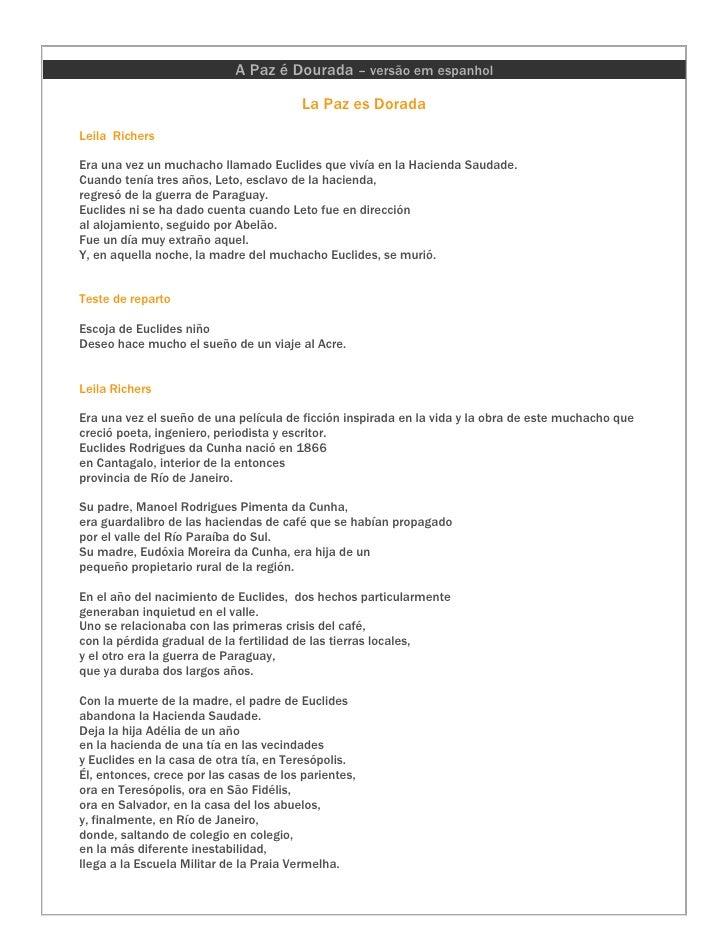 A Paz é Dourada – versão em espanhol                                           La Paz es Dorada Leila Richers  Era una vez...