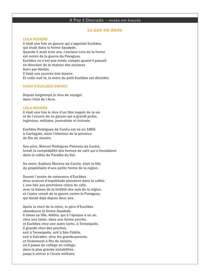 A Paz é Dourada – versão em francês                                              La paix est dorée LEILA RICHERS Il était ...