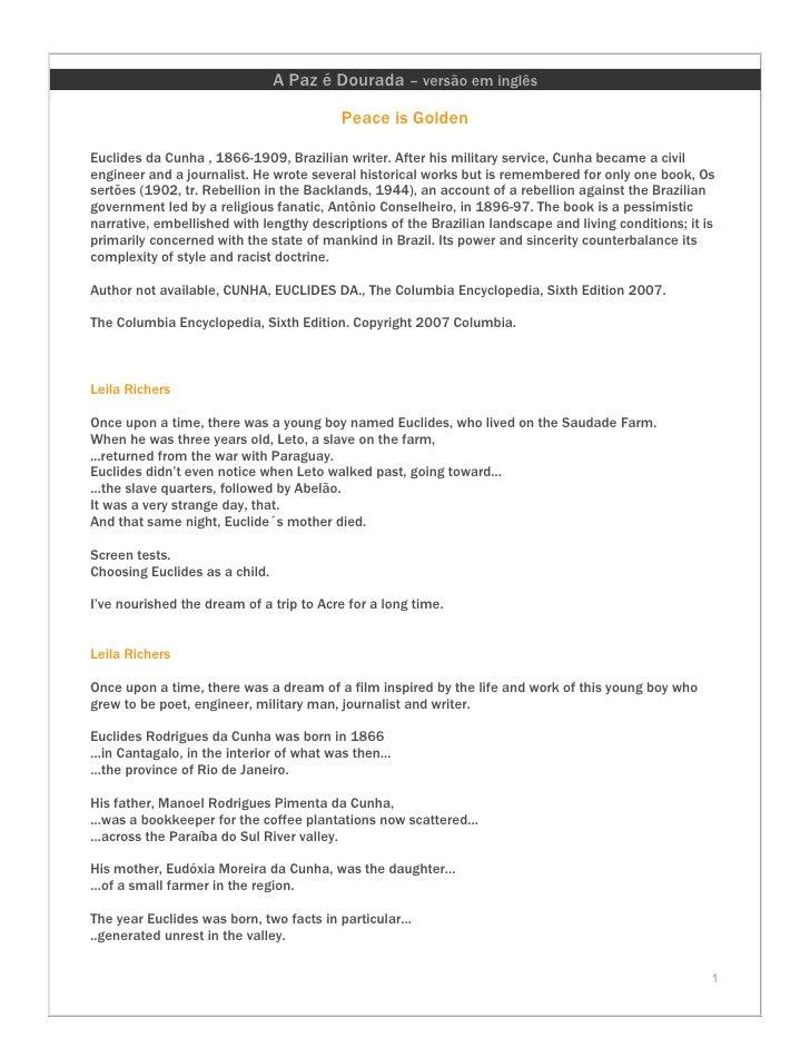 A Paz é Dourada – versão em inglês                                           Peace is Golden  Euclides da Cunha , 1866-190...