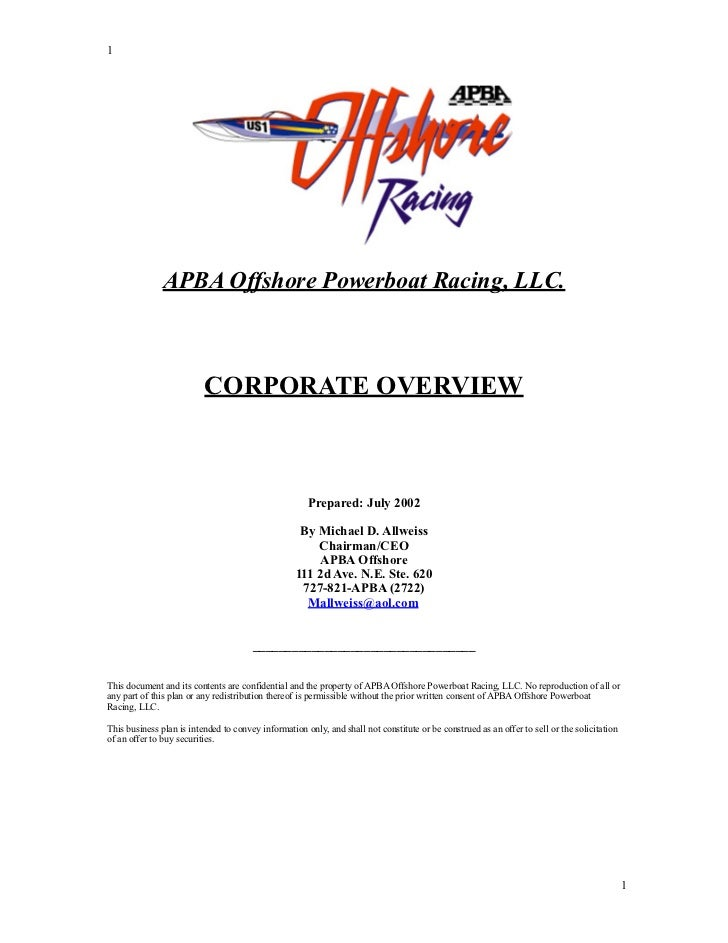 1               APBA Offshore Powerboat Racing, LLC.                          CORPORATE OVERVIEW                          ...