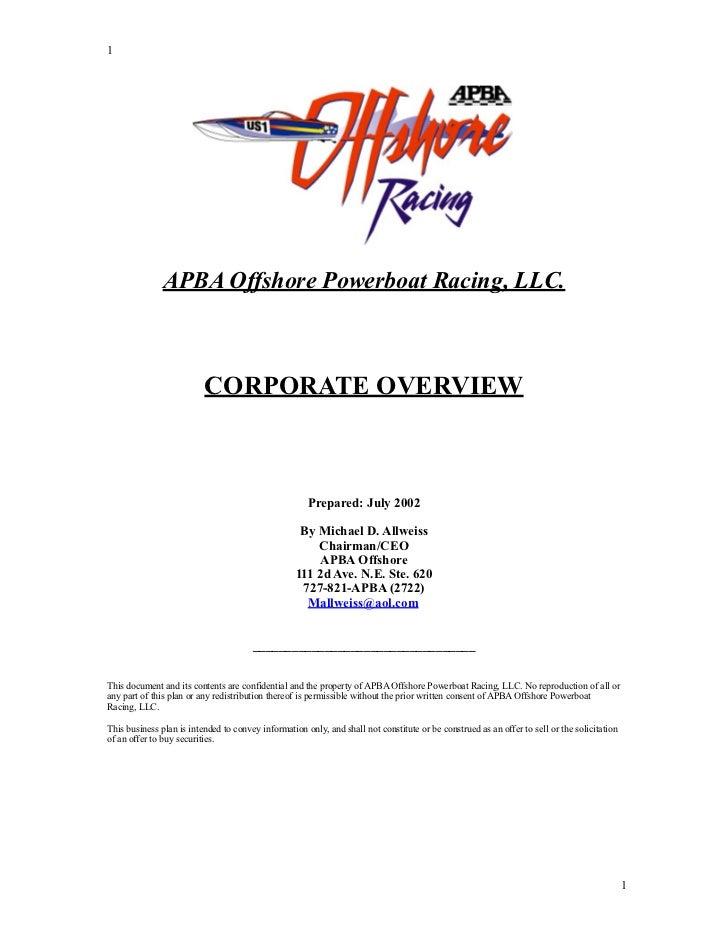 APBA Offshore Racing,LLC - Business Plan - (99yr  License)