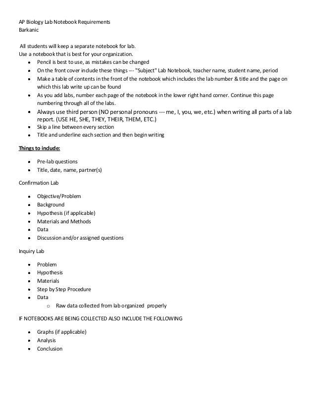 Ap biology lab notebook