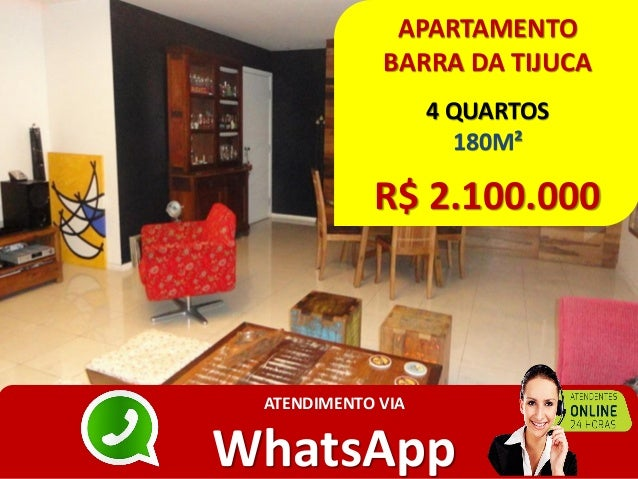 APARTAMENTO BARRA DA TIJUCA 4 QUARTOS 180M² R$ 2.100.000 ATENDIMENTO VIA WhatsApp