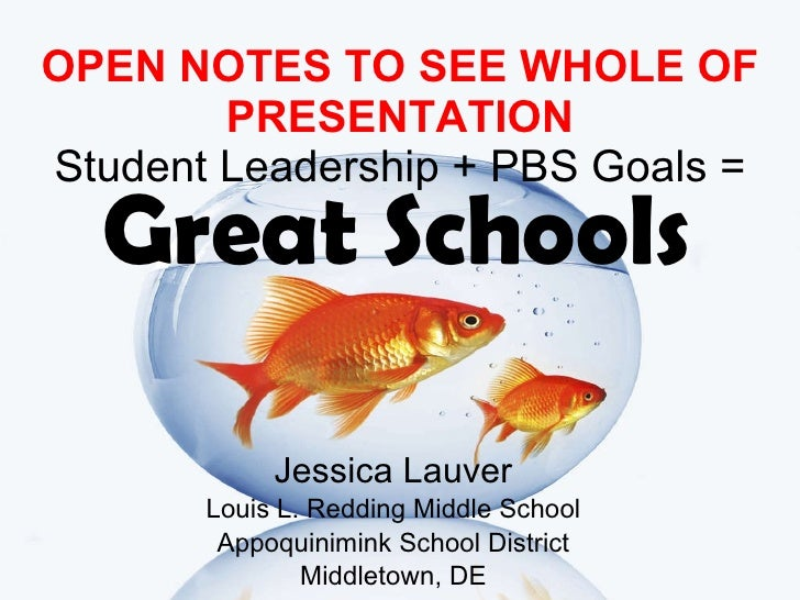 OPEN NOTES TO SEE WHOLE OF PRESENTATION Student Leadership + PBS Goals = Jessica Lauver Louis L. Redding Middle School App...