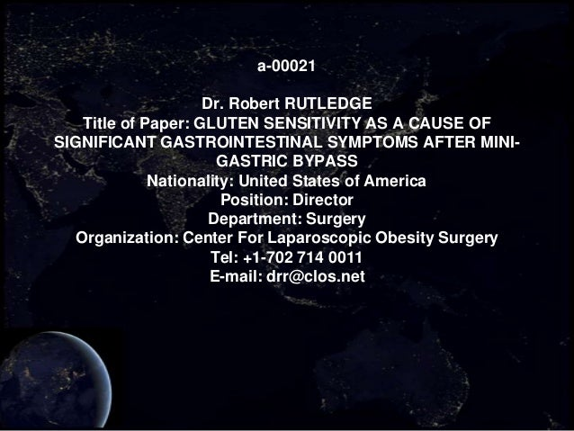 a-00021                    Dr. Robert RUTLEDGE   Title of Paper: GLUTEN SENSITIVITY AS A CAUSE OFSIGNIFICANT GASTROINTESTI...