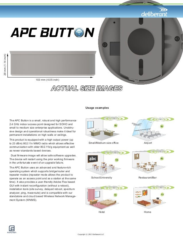 ACTUAL SIZE IMAGES  103 mm (4.05 inch)  29 mm (1.14 inch)  Copyright © 2013 Deliberant LLC  The APC Button is a small, rob...
