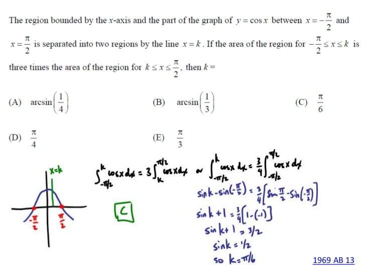 AP Calculus AB 1969 MC Questions