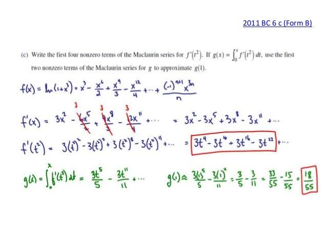 ap calculus bc series frq solutions rh slideshare net College Calculus ab calculus free response 2014 scoring guidelines