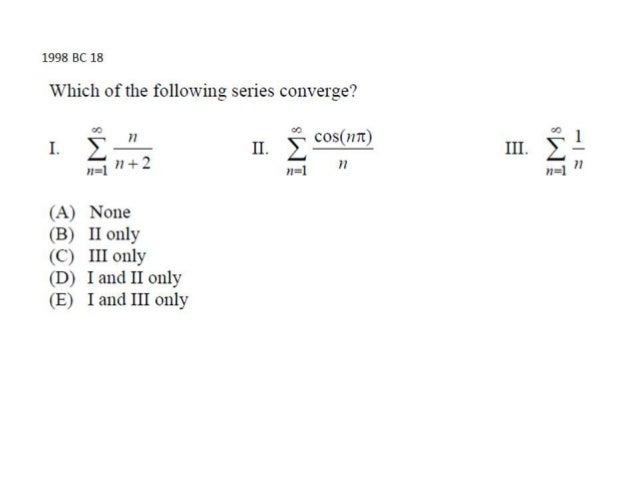 AP Calculus BC Series Multiple Choice Solutions