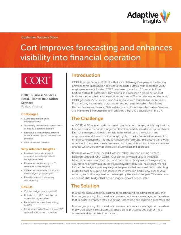 Customer Success Story  Cort improves forecasting and enhances visibility into financial operation Introduction  CORT Busi...