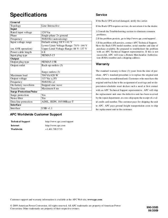 APC Back-UPS Pro 700 Installation and Operation