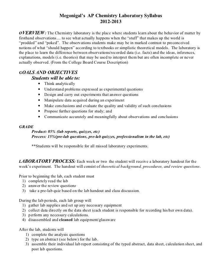 ap chemistry lab report example
