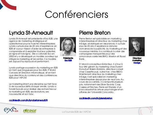 Conférenciers Lynda St-Arneault Lynda St-Arneault est présidente d'Exo B2B, une agence de marketing stratégique et opérati...
