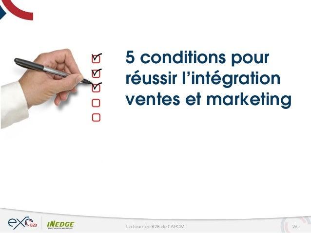 5 conditions pour réussir l'intégration ventes et marketing 26La Tournée B2B de l'APCM