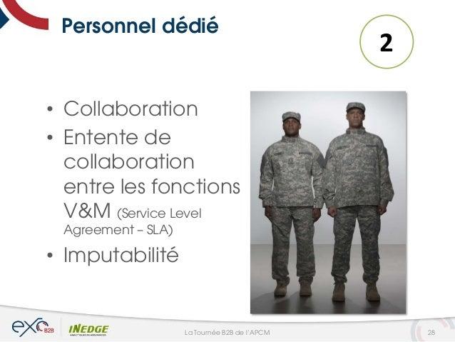 Personnel dédié • Collaboration • Entente de collaboration entre les fonctions V&M (Service Level Agreement – SLA) • Imput...