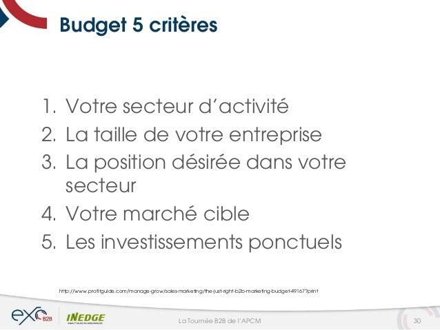 Budget 5 critères 1. Votre secteur d'activité 2. La taille de votre entreprise 3. La position désirée dans votre secteur 4...