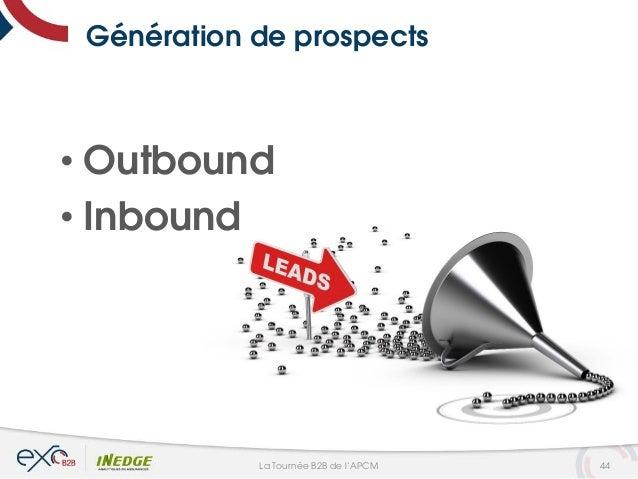 Génération de prospects • Outbound • Inbound 44La Tournée B2B de l'APCM