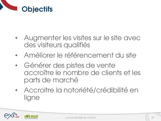 Objectifs • Augmenter les visites sur le site avec des visiteurs qualifiés • Améliorer le référencement du site • Générer ...