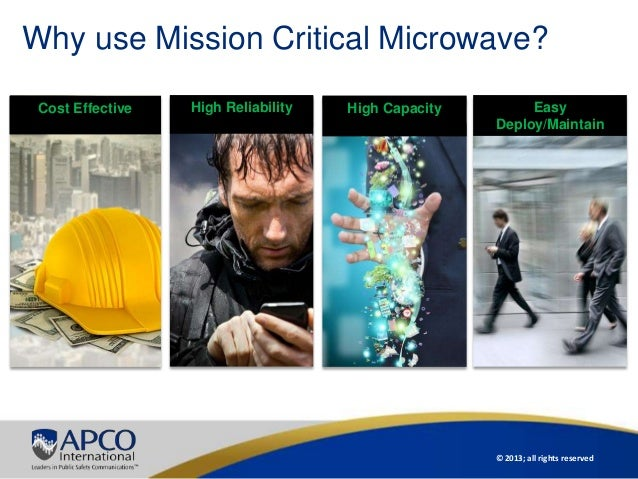 © 2013; all rights reservedWhy use Mission Critical Microwave?Cost Effective High CapacityHigh Reliability EasyDeploy/Main...