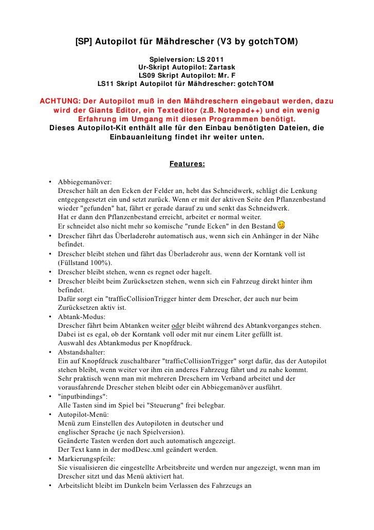 [SP] Autopilot für Mähdrescher (V3 by gotchTOM)                                Spielversion: LS 2011                      ...