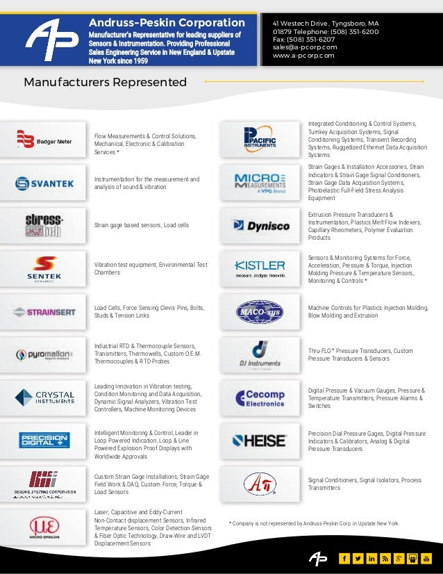 Manufacturers Represented 41 Westech Drive , Tyngsboro, MA 01879 Telephone: (508) 351-6200 Fax: (508) 351-6207 sales@a-pc ...