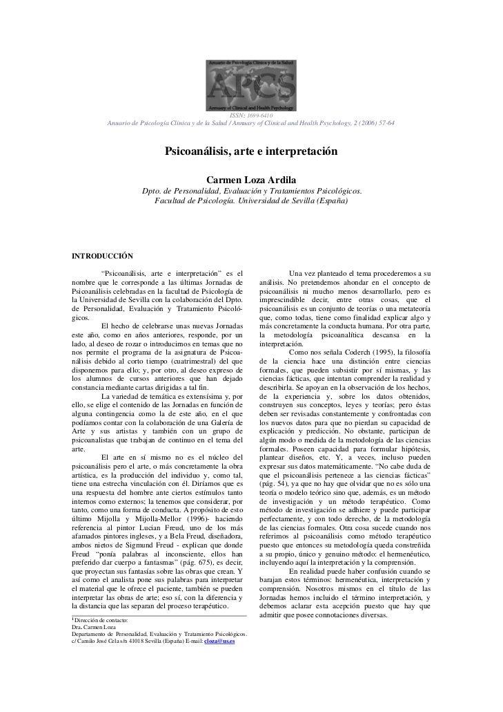 ISSN: 1699-6410              Anuario de Psicología Clínica y de la Salud / Annuary of Clinical and Health Psychology, 2 (2...