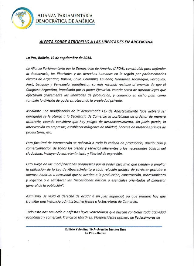 AIIANZA PARTAMENTARTA  DEMOCRATICDAE A MÉruCA  ALERTAS OBREA TROPELLAO LASL IBERTADEESN ARGENTINA  Lo Poa Bolivid, 79 de s...