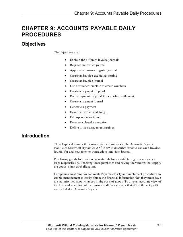 Chapter 9: Accounts Payable Daily Procedures 9-1 CHAPTER 9: ACCOUNTS PAYABLE DAILY PROCEDURES Objectives The objectives ar...