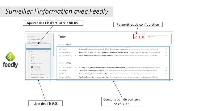 Paramètres de configuration Liste des fils RSS Consultation du contenu des fils RSS Surveiller l'information avec Feedly A...