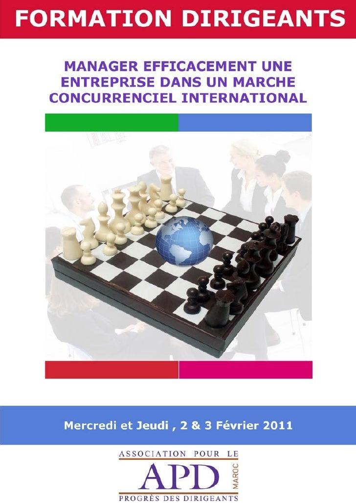 APD MAROC : FORMATION_MANAGER EFFICACEMENT UNE ENTREPRISE DANS UN MARCHE CONCURRENTIEL INTERNATIONAL