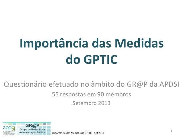 Importância  das  Medidas  do  GPTIC  –  Set  2013   Importância  das  Medidas   do  GPTIC   Que...