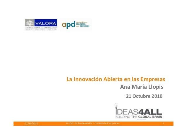 © 2010 Global ideas4all SL - Confidential & Proprietary21/10/2010 1 La Innovación Abierta en las Empresas Ana María Llopis...