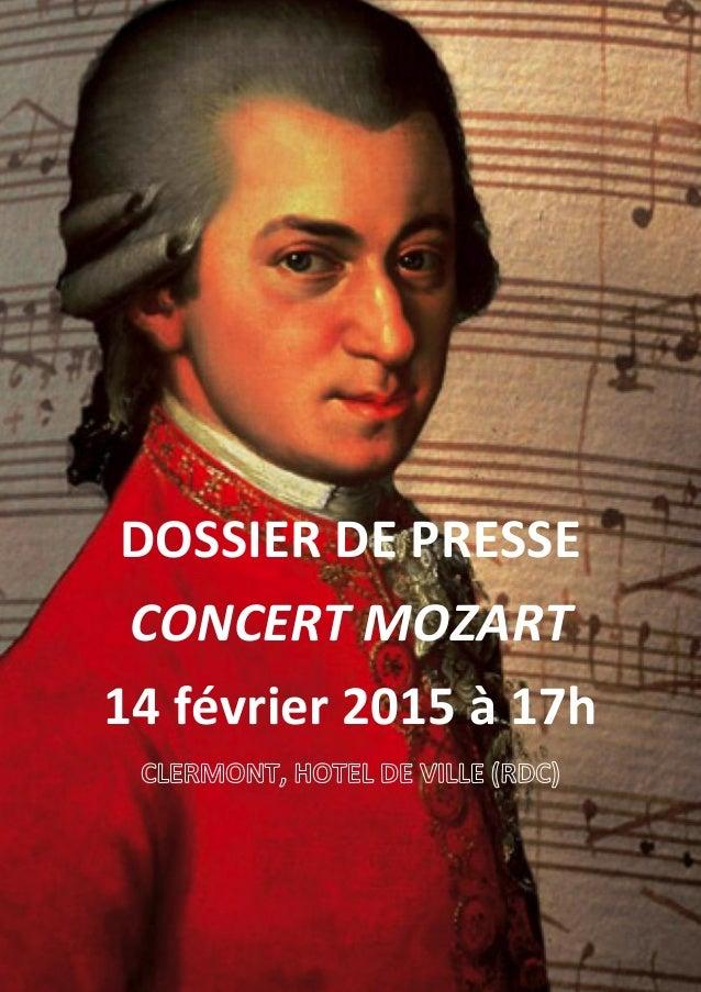 DOSSIER DE PRESSE CONCERT MOZART 14 février 2015 à 17h