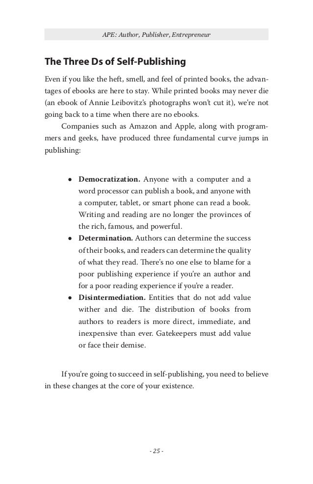 Ape how to publish a book by guy kawasaki 24 40 ape author publisher entrepreneur the three ds of self publishing even if you like fandeluxe Image collections