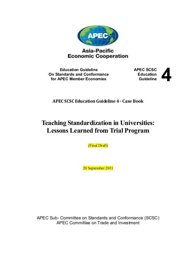 Education Guideline On Standards and Conformance for APEC Member Economies  APEC SCSC Education Guideline  APEC SCSC Educa...