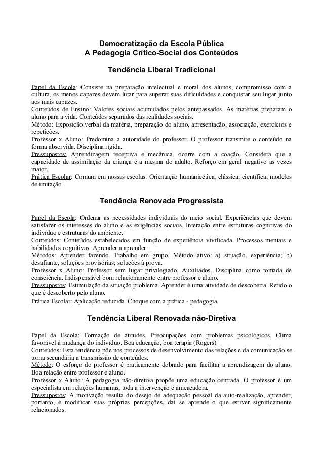Democratização da Escola Pública A Pedagogia Crítico-Social dos Conteúdos Tendência Liberal Tradicional Papel da Escola: C...