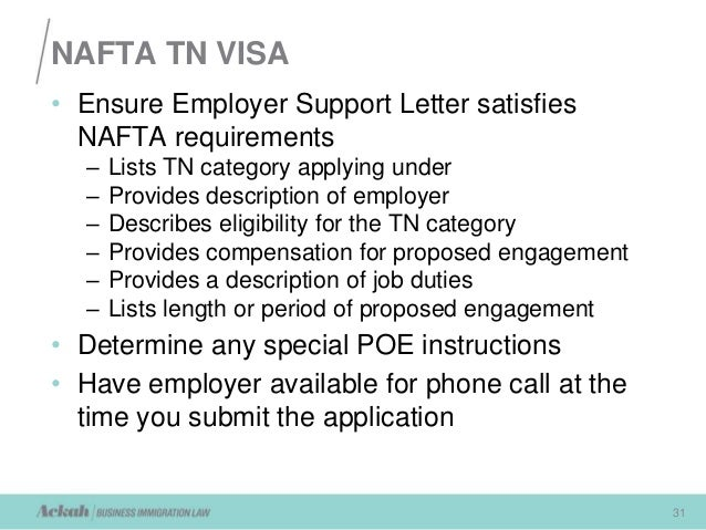 Nafta Requirements For Working In The U S Presented By