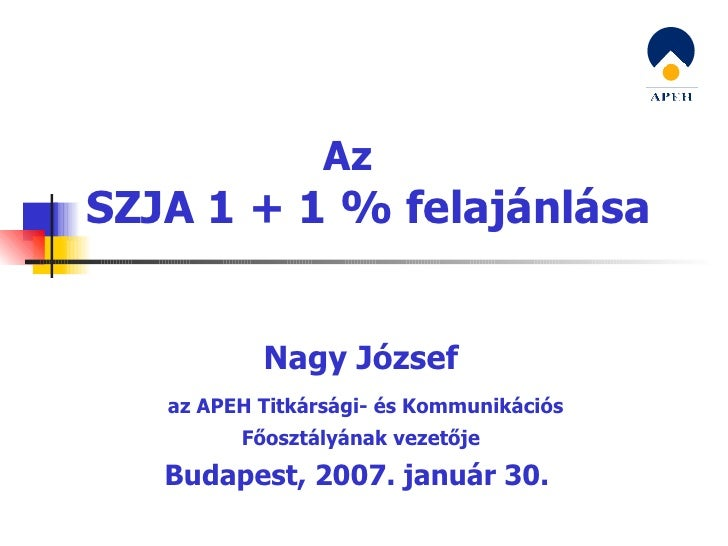Az SZJA 1 + 1 % felajánlása Nagy József az APEH Titkársági- és Kommunikációs Főosztályának vezetője Budapest, 2007. január...