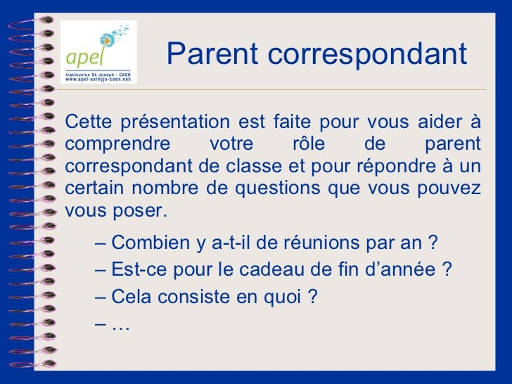 Apel   le parent correpondant - v2011 Slide 2