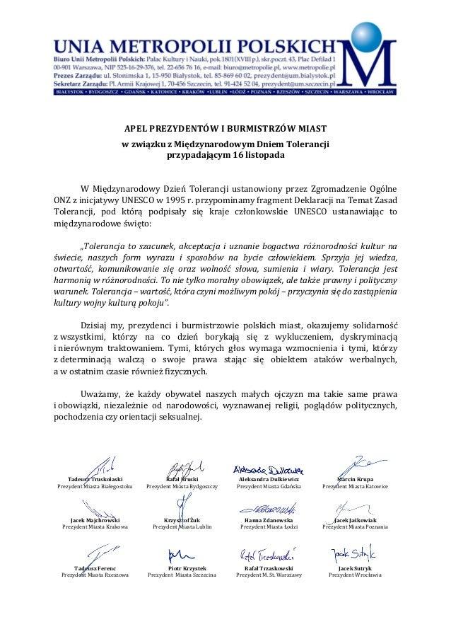 APEL PREZYDENTÓW I BURMISTRZÓW MIAST w związku z Międzynarodowym Dniem Tolerancji przypadającym 16 listopada W Międzynarod...