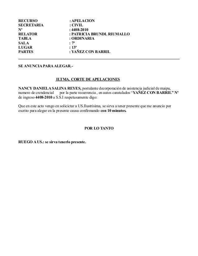 RECURSO : APELACION  SECRETARIA : CIVIL  Nº : 4408-2010  RELATOR : PATRICIA BRUNDL RIUMALLO  TABLA : ORDINARIA  SALA : 7º ...