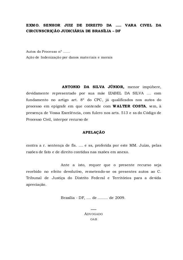 EXMO. SENHOR JUIZ DE DIREITO DA ..... VARA CIVEL DA  CIRCUNSCRIÇÃO JUDICIÁRIA DE BRASÍLIA – DF  Autos do Processo nº ........