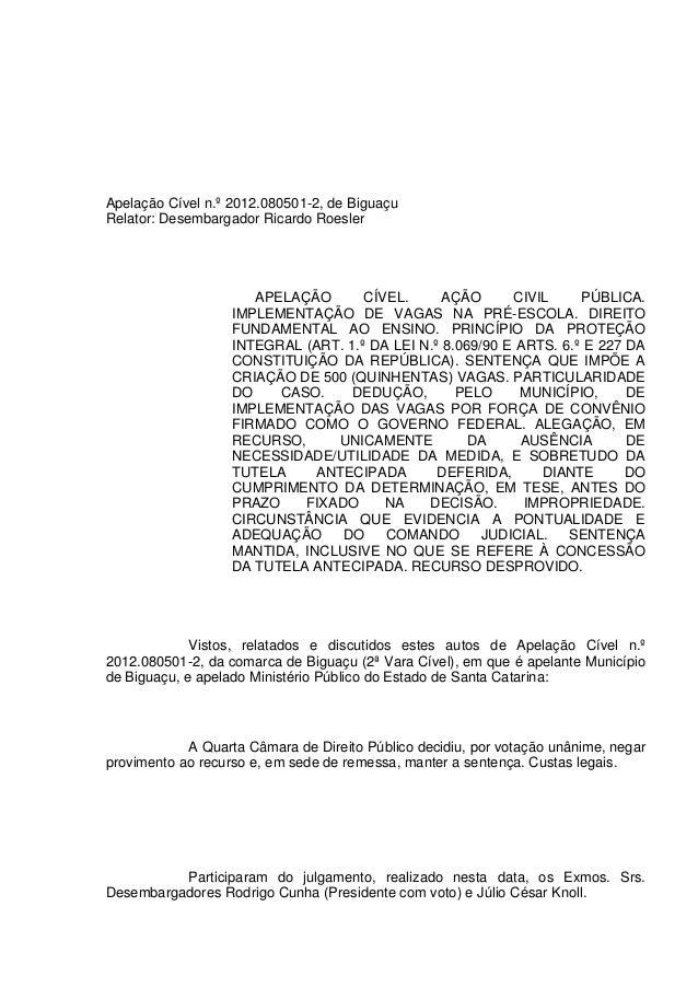 Apelação Cível n.º 2012.080501-2, de Biguaçu Relator: Desembargador Ricardo Roesler APELAÇÃO CÍVEL. AÇÃO CIVIL PÚBLICA. IM...