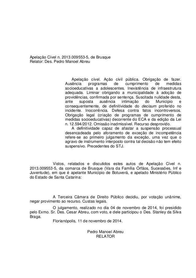 Apelação Cível n. 2013.009553-5, de Brusque Relator: Des. Pedro Manoel Abreu Apelação cível. Ação civil pública. Obrigação...