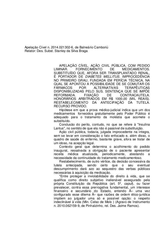 Apelação Cível n. 2014.021302-6, de Balneário Camboriú Relator: Des. Subst. Stanley da Silva Braga APELAÇÃO CÍVEL. AÇÃO CI...