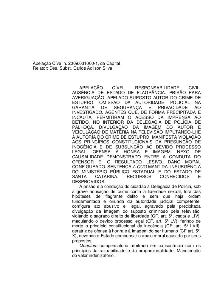 Apelação Cível n. 2009.031000-1, da CapitalRelator: Des. Subst. Carlos Adilson Silva                       APELAÇÃO       ...