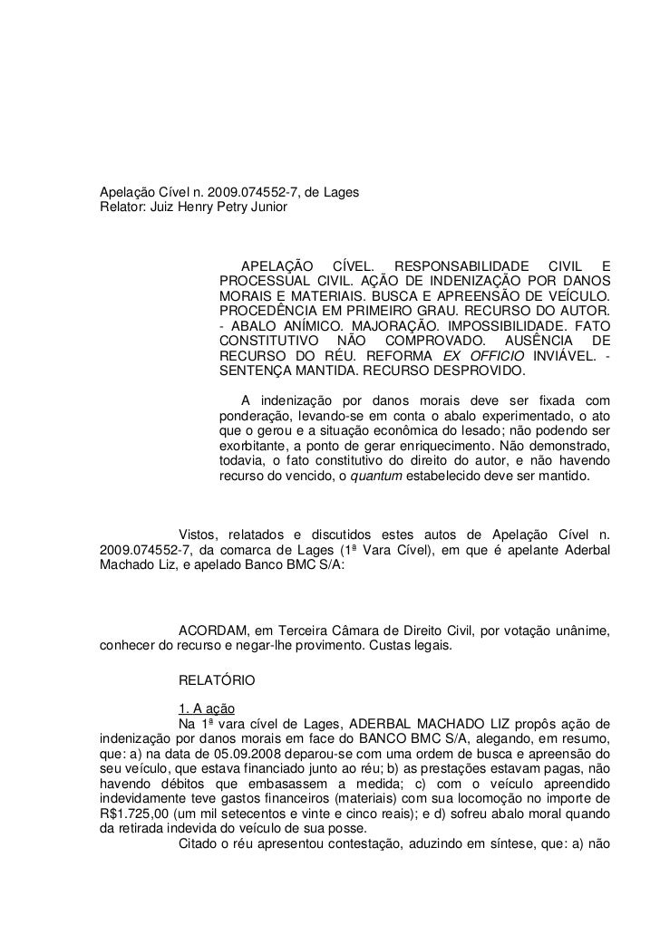Apelação Cível n. 2009.074552-7, de LagesRelator: Juiz Henry Petry Junior                      APELAÇÃO CÍVEL. RESPONSABIL...